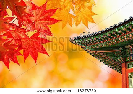 Gyeongbokgung Palace With Colorful Autumn Leaves In Seoul, South Korea.