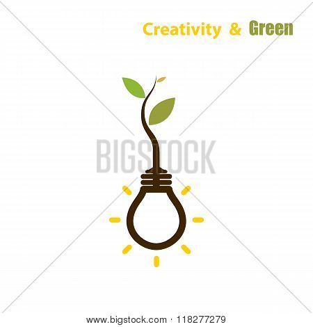Plant Growing Inside The Light Bulb.green Eco Energy Concept.tree Of Knowledge Concept. Education An