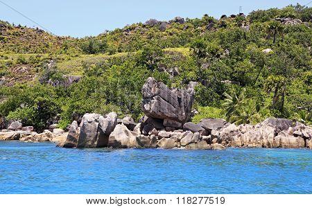 Beautiful Huge granite boulders on Curieuse Island in Indian Ocean.