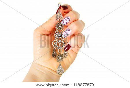 Modern Fashion Manicure With Arabic Style  Ear Ring.