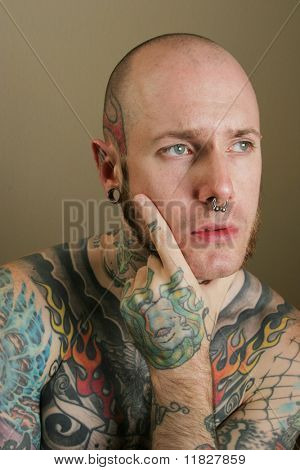 Tattoo man thinking