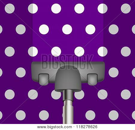 Vacuum cleaner drains purple carpet