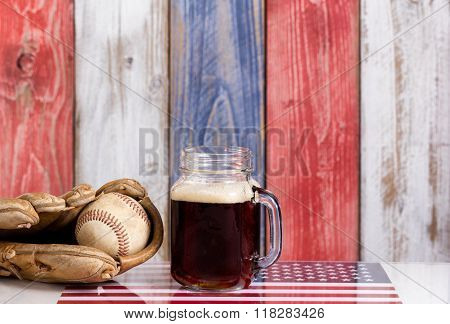 Beer And American Baseball Equipment With Faded Wooden Boards Painted In Usa National Colors