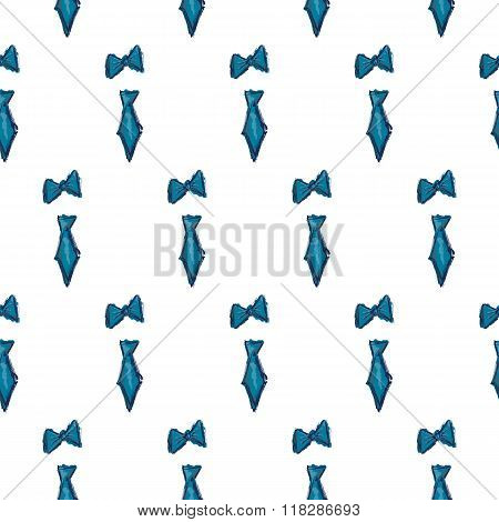 Blue Tie And Tie Bow Hand Drawn Seamless Pattern Vector
