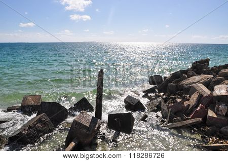Indian Ocean: Man Made Breakwater