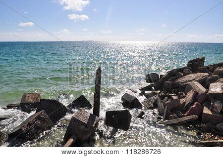 Indian Ocean: Man Made Breakwater