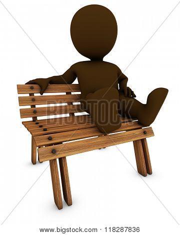 3D Render of Morph Man on park bench