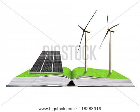 Ecological book with solar panel and wind turbines isolated on white background. Clean energy concept.