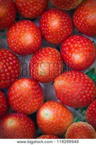 Close Up Of Group Of Fresh Red Strawberry,made With Filter