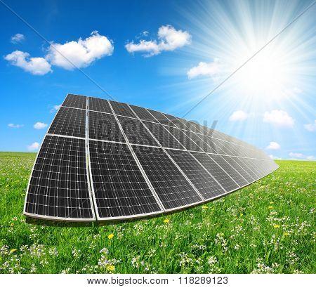 Solar energy panels against sunny sky. Clean energy.