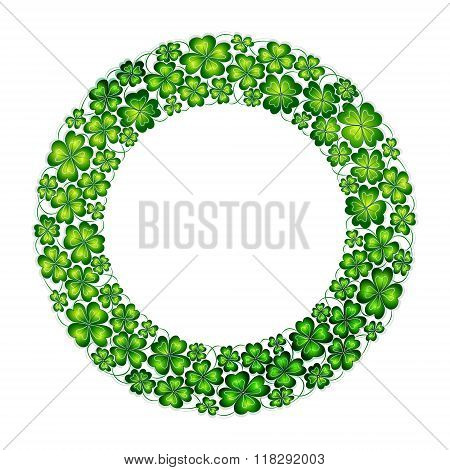 Doodle green hand draw clover lucky shamrock circle wreath Saint Patrick's Day vector line art isolated.
