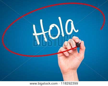 Man Hand Writing Hola  (hello In Spanish) With Black Marker On Visual Screen