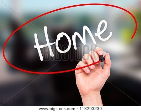 Man Hand Writing Home With Black Marker On Visual Screen