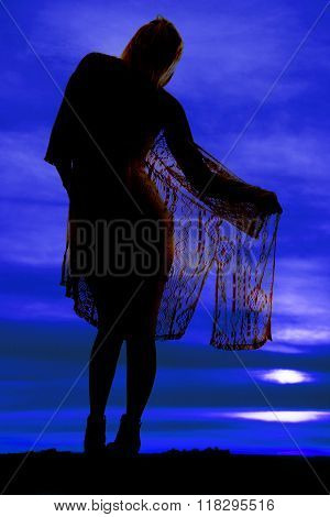 Silhouette Of A Woman Wrapped In Sheer Cloth From Back