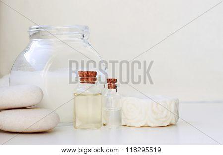 white spa treatment setting