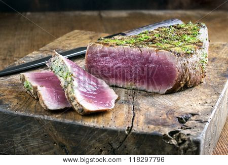 Tuna Steak on Chopping Board