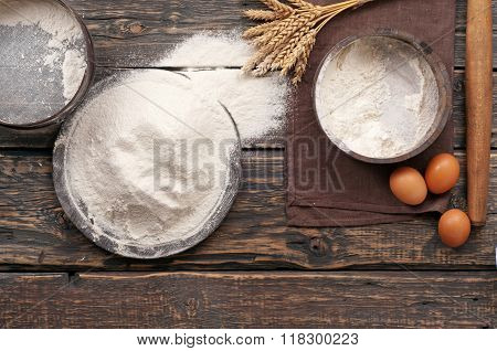 Handful Of Flour With Eggs, Spikelets Of Wheat, Rolling Pin
