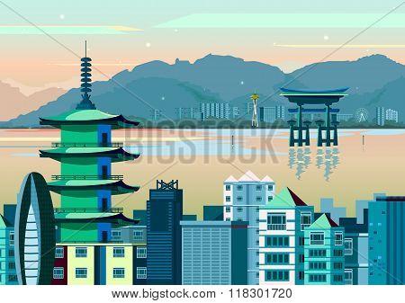 Miyajima and Pagoda of Japan