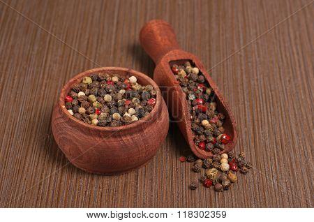 Variety Of Different Peppercorns - White, Black And Red Pepper
