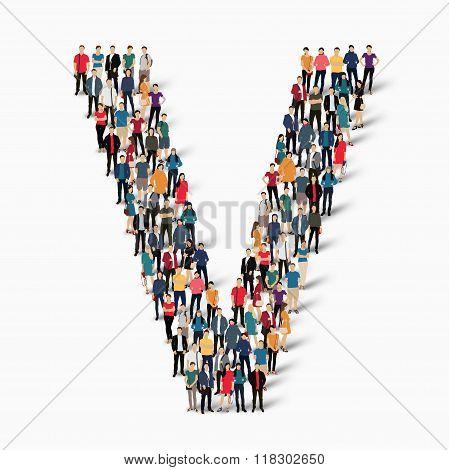 group  people  shape letter V vector