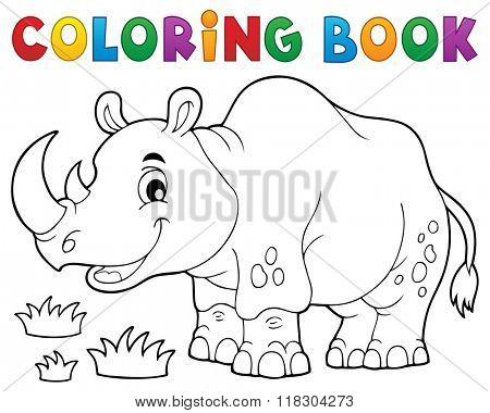 Coloring book rhino theme image 1 - eps10 vector illustration.