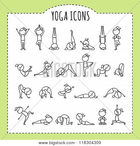 Hand drawn yoga poses. Yoga asanas. Gymnastics exercises, stretching and meditation. Healthy lifesty