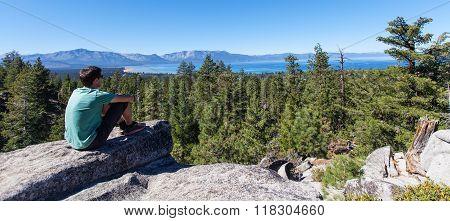 Man Enjoying Lake Tahoe