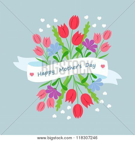 Spring floral bouquet with ribbon and congratulation in flat style. Concept design template greeting