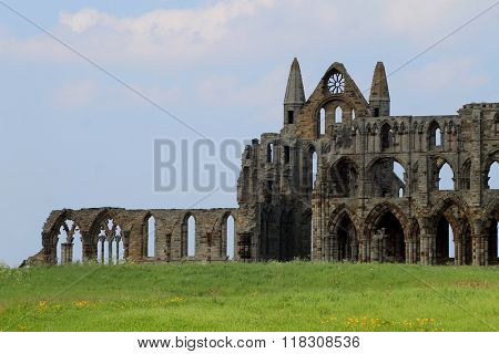 Scenic view of Whitby Abbey, North Yorkshire, England.