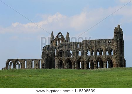 Panoramic view of Whitby Abbey in North Yorkshire, England.