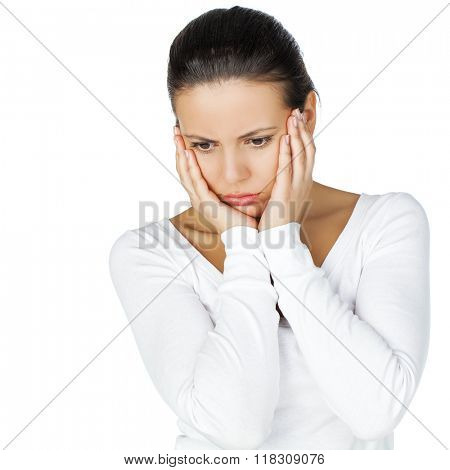 Stressed and depressed young atractive brunette woman, isolated on white background