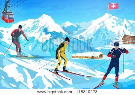 Alps winter mountain welcome card with ski activities