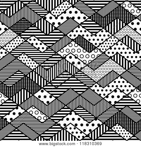 Monochrome Geometric Patchwork Pattern