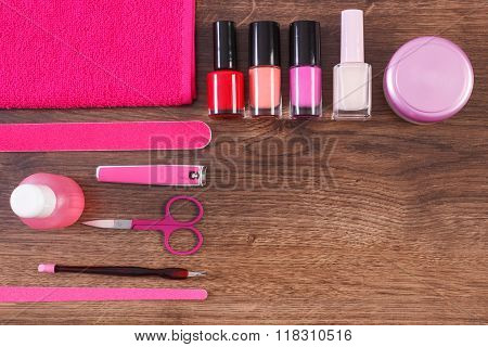 Cosmetics And Accessories For Manicure Or Pedicure, Concept Of Nail Care, Copy Space For Text