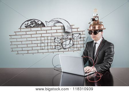 Junk mail procection concept with vintage businessman and laptop