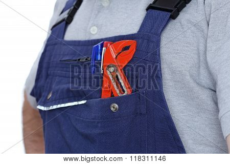 Worker With Gripper In His Pocket
