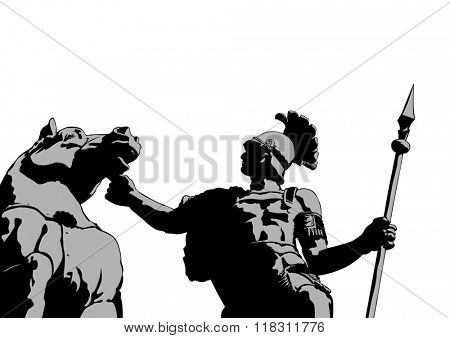 Roman legionary with a horse on a white background