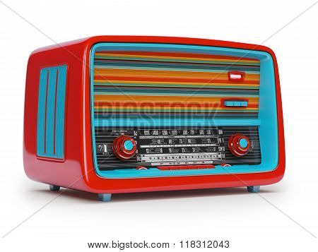 Vintage radio on a white background