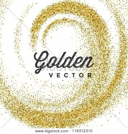 Gold Glitter Sparkles Bright Confetti Vector Background.