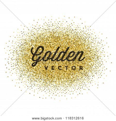 Gold Glitter Sparkles Bright Confetti Vector Background.