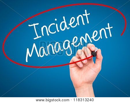 Man Hand Writing Incident Management With Black Marker On Visual Screen