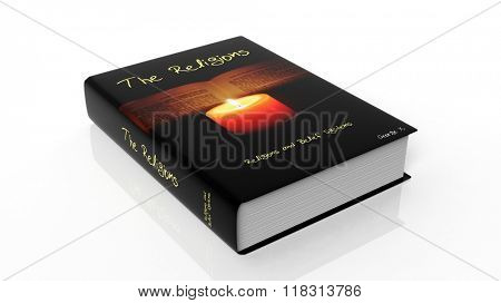 Hardcover book on The Religions with illustration on cover, isolated on white background.