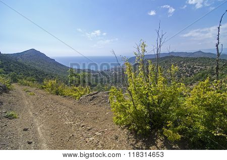 Side Sea View From A Mountain Dirt Road.