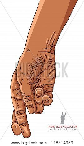 Cheater hand with crossed fingers African ethnicity detailed vector illustration.