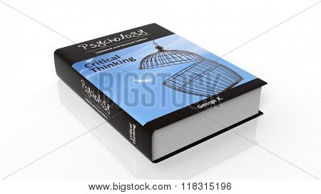 Hardcover book Psychology with illustration on cover, isolated on white background.