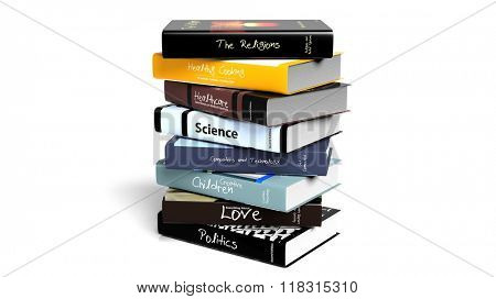 Stack of books with various subjects, isolated on white background.