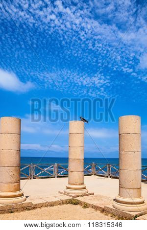 National Park Caesarea, Israel. Ancient columns from the Roman period on the coast