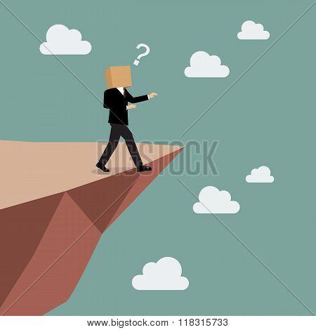 Cardboard Businessman Walk Straight Into The Abyss