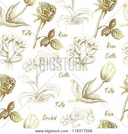 Seamless pattern with calla lily, tulip, orchid, and rose on white