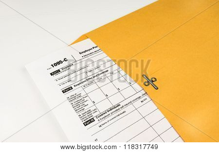 Tax Form 1095-c on Light Background
